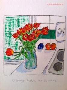 Orange tulips on counter.